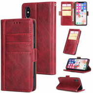 *FINAL SALE* Deluxe Genuine Leather Wallet Case for iPhone XS / X - Red Wine