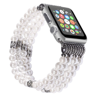 *Sale* Luxurious Faux Pearl with Rhinestones Watch Band Bracelet for Apple Watch 44mm / 42mm - White