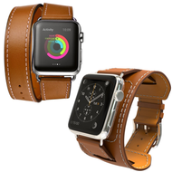 *SALE* 4-IN-1 Double Wrap Cuff Bund Leather Watch Band for Apple Watch 44mm / 42mm - Brown