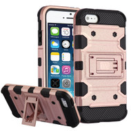 Military Grade Certified Storm Tank Hybrid Armor Case with Stand for iPhone SE / 5S / 5 - Rose Gold
