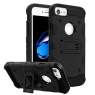 Military Grade Certified Storm Tank Hybrid Armor Case with Stand for iPhone 8 / 7 / 6S / 6 - Black