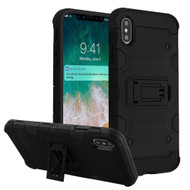 Military Grade Certified Storm Tank Hybrid Armor Case with Stand for iPhone XS Max - Black