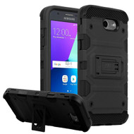 Military Grade Certified Storm Tank Hybrid Armor Case with Stand for Samsung Galaxy J3 (2017) / J3 Emerge / J3 Prime / Amp Prime 2 - Black