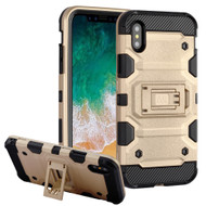 Military Grade Certified Storm Tank Hybrid Armor Case with Stand for iPhone XS / X - Gold