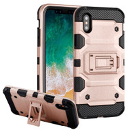 Military Grade Certified Storm Tank Hybrid Armor Case with Stand for iPhone XS / X - Rose Gold