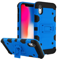 Military Grade Certified Storm Tank Hybrid Armor Case with Stand for iPhone XR - Blue
