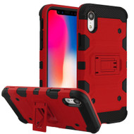 Military Grade Certified Storm Tank Hybrid Armor Case with Stand for iPhone XR - Red