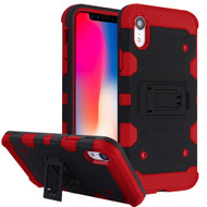 Military Grade Certified Storm Tank Hybrid Armor Case with Stand for iPhone XR - Black Red