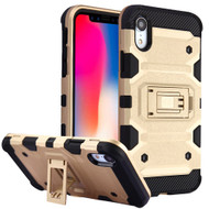 Military Grade Certified Storm Tank Hybrid Armor Case with Stand for iPhone XR - Gold