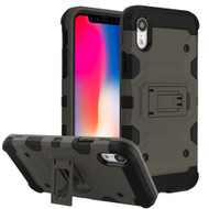 Military Grade Certified Storm Tank Hybrid Armor Case with Stand for iPhone XR - Grey