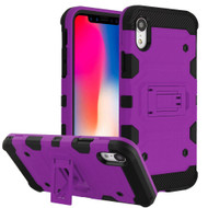 Military Grade Certified Storm Tank Hybrid Armor Case with Stand for iPhone XR - Purple