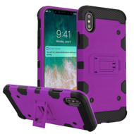 Military Grade Certified Storm Tank Hybrid Armor Case with Stand for iPhone XS Max - Purple