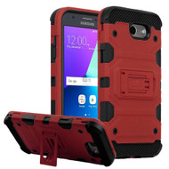 Military Grade Certified Storm Tank Hybrid Armor Case with Stand for Samsung Galaxy J3 (2017) / J3 Emerge / J3 Prime / Amp Prime 2 - Red