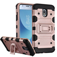 Military Grade Certified Storm Tank Hybrid Armor Case with Stand for Samsung Galaxy J3 (2018) - Rose Gold
