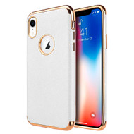 Saffiano Luxury Fusion Case for iPhone XR - White