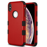Military Grade Certified TUFF Fuse Hybrid Armor Case for iPhone XS Max - Carbon Fiber Red