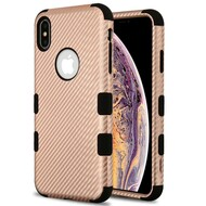 Military Grade Certified TUFF Fuse Hybrid Armor Case for iPhone XS Max - Carbon Fiber Rose Gold