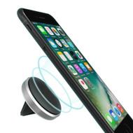 Aluminum Magnetic Car Air Vent Phone Mount Holder - Silver