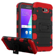 Military Grade Certified Storm Tank Case for Samsung Galaxy J3 (2017) / J3 Emerge / J3 Prime / Amp Prime 2 - Black Red