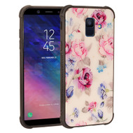 Scratch Resistant Tempered Glass Air Cushion TPU Fusion Case for Samsung Galaxy A6 (2018) - Peony White