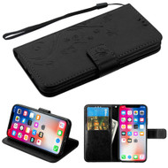 Embossed Butterfly Flower Leather-Style Wallet Stand Case for iPhone iPhone XS / X - Black