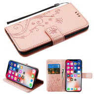 Embossed Butterfly Flower Leather-Style Wallet Stand Case for iPhone iPhone XS / X - Rose Gold