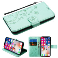 Embossed Butterfly Flower Leather-Style Wallet Stand Case for iPhone iPhone XS / X - Teal Green