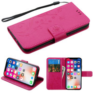 Embossed Butterfly Flower Leather-Style Wallet Stand Case for iPhone iPhone XS / X - Hot Pink