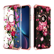 Klarion Crystal Clear Diamond Tough Case for iPhone XR - Pink Peony