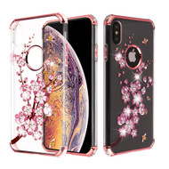 Klarion Crystal Clear Diamond Tough Case for iPhone XS Max - Spring Flowers