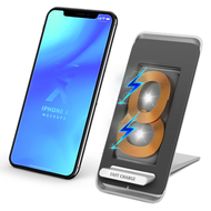 3-Way Positions 10W Fast Qi Wireless Charger Stand Pad with Dual Coils Charging Transmitter - Silver