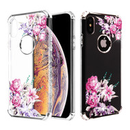 Klarion Crystal Clear Diamond Tough Case for iPhone XS Max - Romantic Love Flowers
