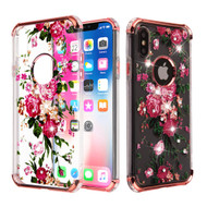 Klarion Crystal Clear Diamond Tough Case for iPhone XS / X - Pink Peony