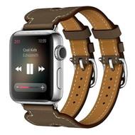 *Sale* Genuine Leather Double Buckle Cuff Strap Watch Band for Apple Watch 44mm / 42mm - Brown