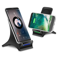 Dual Coil 10W Fast Qi Wireless Charger Charging Stand with Cooling Fan and Quick Charge 3.0 Power Adapter - Black