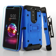3-IN-1 Kinetic Hybrid Armor Case with Holster and Tempered Glass Screen Protector for LG K30 - Blue