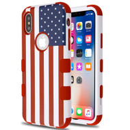 Military Grade Certified TUFF Hybrid Image Armor Case for iPhone XS / X - United States National Flag
