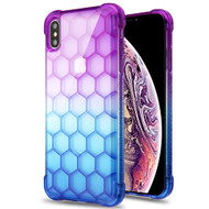 Honeycomb Tough Snap-on Crystal Case for iPhone XS Max - Purple Blue