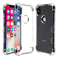 TUFF Klarity Lux Electroplating Transparent Anti-Shock TPU Case for iPhone XS / X - Silver