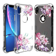 TUFF Klarity Lux Diamond Electroplating Transparent Anti-Shock TPU Case for iPhone XR - Romantic Love Flowers