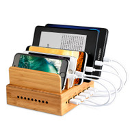 Bamboo 5 Port Universal Desktop Charger Dock USB Charging Station 30W 6A