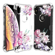 TUFF Klarity Lux Diamond Electroplating Transparent Anti-Shock TPU Case for iPhone XS Max - Romantic Love Flowers