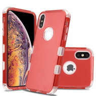 Military Grade Certified TUFF Lucid Transparent Hybrid Armor Case for iPhone XS Max - Red