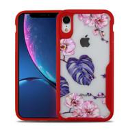 Vista Ultra Hybrid Shock Absorbent Crystal Case for iPhone XR - Violet Monstera