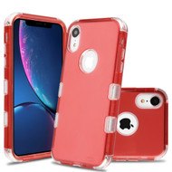 Military Grade Certified TUFF Lucid Transparent Hybrid Armor Case for iPhone XR - Red
