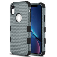 Military Grade Certified TUFF Fuse Hybrid Armor Case for iPhone XR - Carbon Fiber Grey