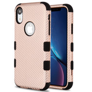 Military Grade Certified TUFF Fuse Hybrid Armor Case for iPhone XR - Carbon Fiber Rose Gold