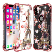 TUFF Klarity Lux Diamond Electroplating Transparent Anti-Shock TPU Case for iPhone XS / X - Paris in Full Bloom