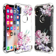 TUFF Klarity Lux Diamond Electroplating Transparent Anti-Shock TPU Case for iPhone XS / X - Romantic Love Flowers
