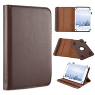 Universal 360 Degree Rotating Leather Folio Kickstand Case - Brown